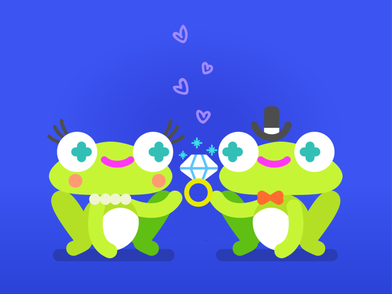 Frogs in love vector illustration in love couple proposal doodle kawaii cute illustration character design children illustration diamond ring love frogs