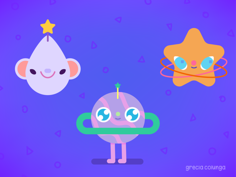 Aliens2 vector art vector illustration adventure friendly funny magic stars planets outerspace universe space happy character design doodle kawaii cute children illustration illustration
