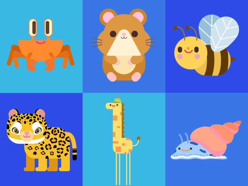 Animals character concept kids lovely snail vector illustration pet crab bee giraffe tiger hamster animals happy doodle cute kawaii character design children illustration illustration