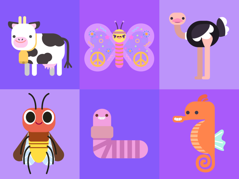 Animals 2 character concept kids illustration vector illustration doodle character design kawaii cute illustration digital painting children illustration hippie firefly bird ostrich butterfly seahorse worm cow concept