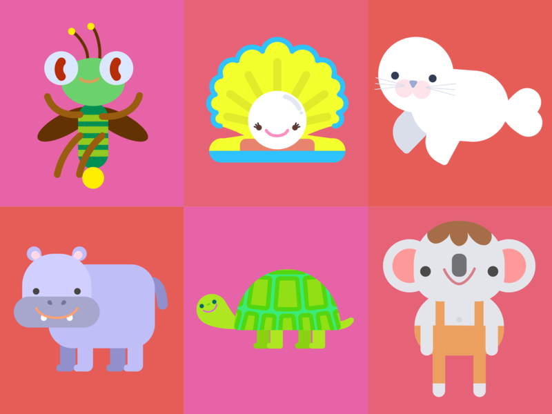 Animals 3 character concept characters lovely kids bug firefly pearl seal koala turtle hippo seashell vector illustration happy doodle character design children illustration cute kawaii illustration