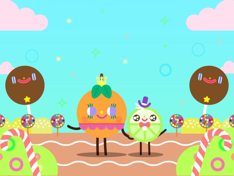Naranja Dulce y Limón Partido kids happy doodle cute kawaii illustration character design children illustration candy bar vector illustration kids show fantasy magic sugar candy world fruits sweet orange lemon lime