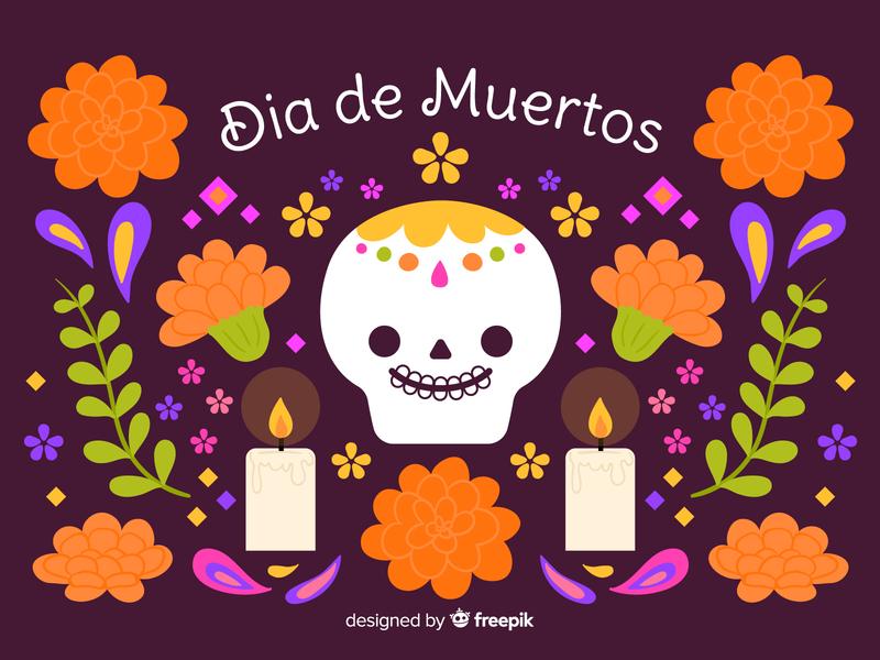Día de Muertos vector design happy vector illustration doodle illustration kawaii candy dayofthedead flowers inktober2019 dia de muertos