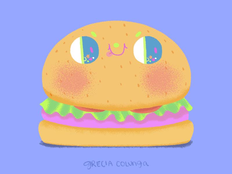Cute Burger junk food food inktober inktober2019 hamburger burger painting digital painting happy character design doodle cute illustration children illustration kawaii