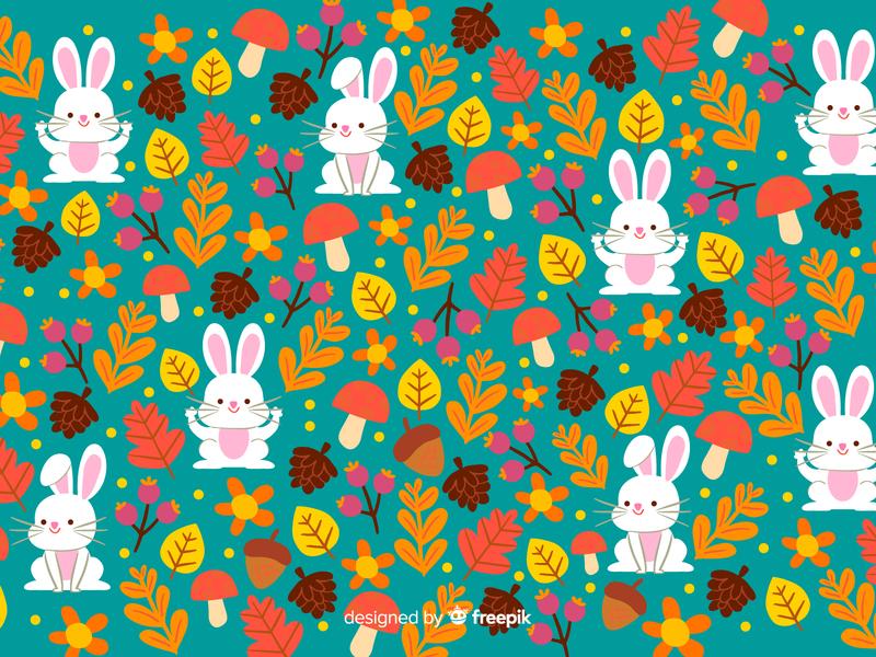 Bunny Pattern inktober inktober2019 autumn pattern art pattern a day pattern magic vector illustration doodle cute children illustration kawaii illustration