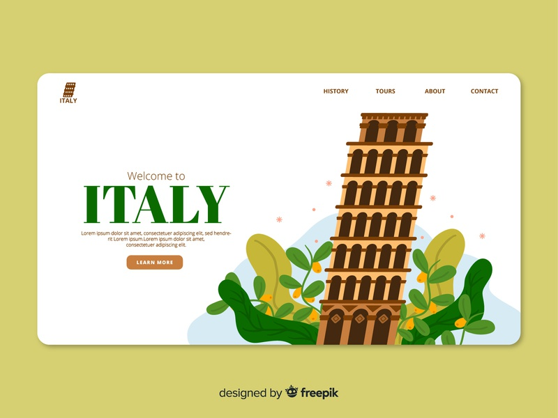 Italy Landing Page Illustration home page download free download free vector tourism web design landing page branding doodle vector illustration vector ui design illustration