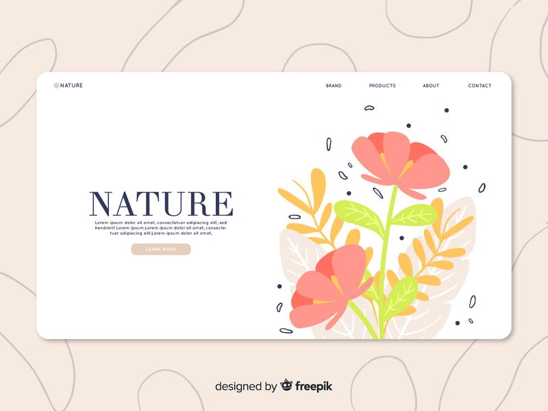 Floral Landing Page web design home page landingpage flowers download mockup free download freebie download branding vector ui design vector illustration illustration