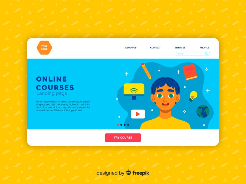 Online Courses Landing Page illustration home page online courses doodle landing page design free download freebie landing page vector illustration branding vector ui design