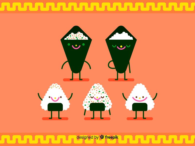 Cute Sushi cute art japanise food sushi roll freedownload freebie illustrations vector vector illustration illustration children illustration character design foodie kawaii cute food sushi