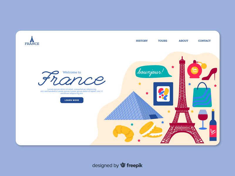 Landing Page France louvre paris eiffeltower free vector free download freebie landing page france ui vector design vector illustration illustration