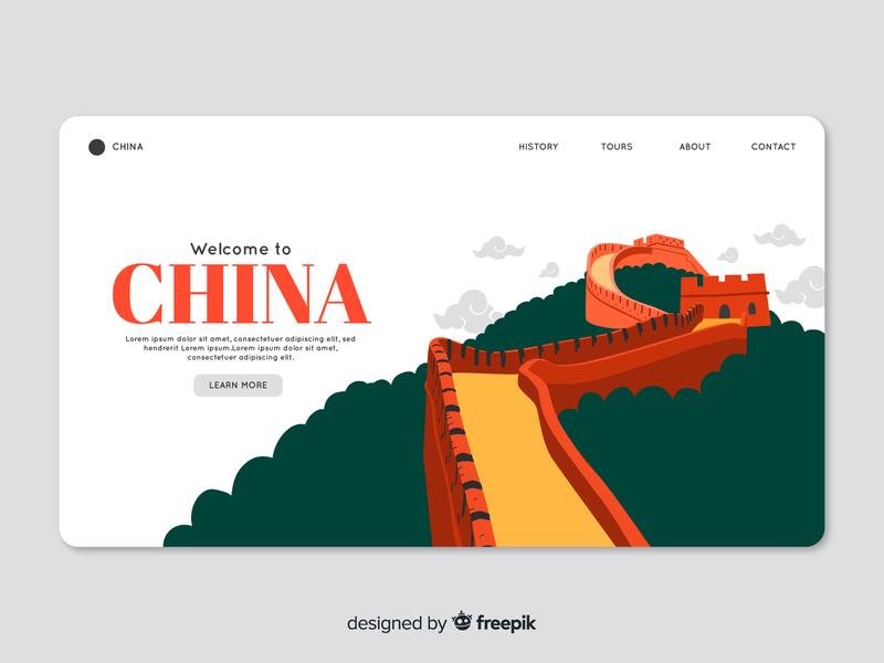 China landing page great wall china free download freebie branding vector ui landing page ui landing page design vector illustration illustration