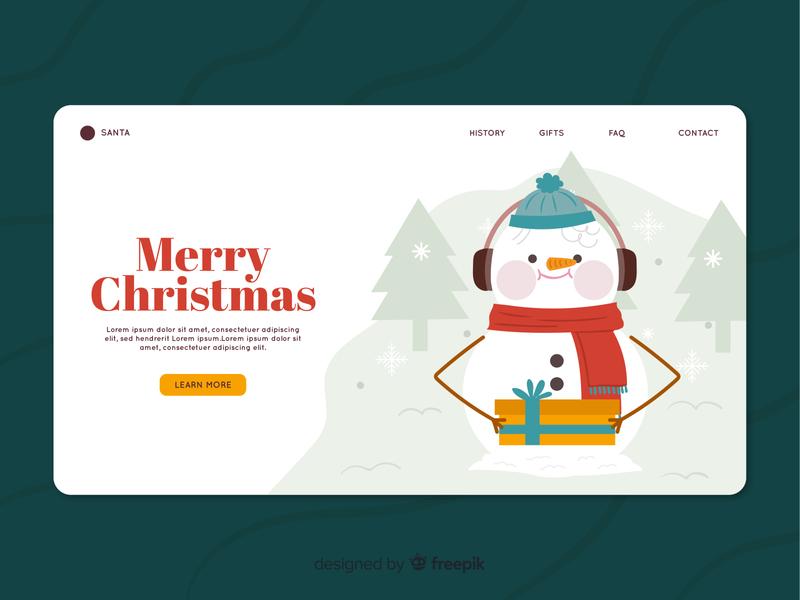 Christmas Landing Page gifts freepik freebie free download snowman vector vector illustration illustration ui landing page ui landing page chistmas