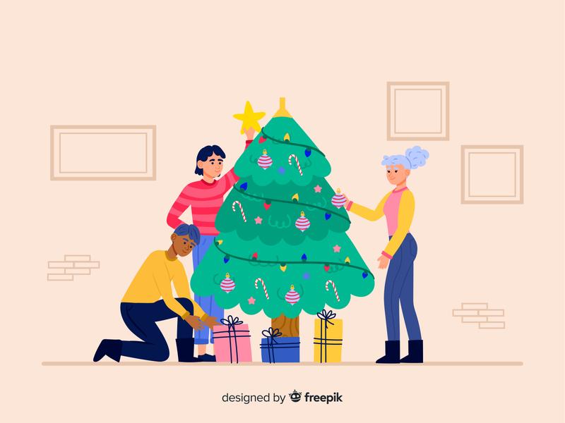 Christmas tree freepik free download free vector freebie christmas decoration christmas tree character design doodle vector design vector illustration illustration