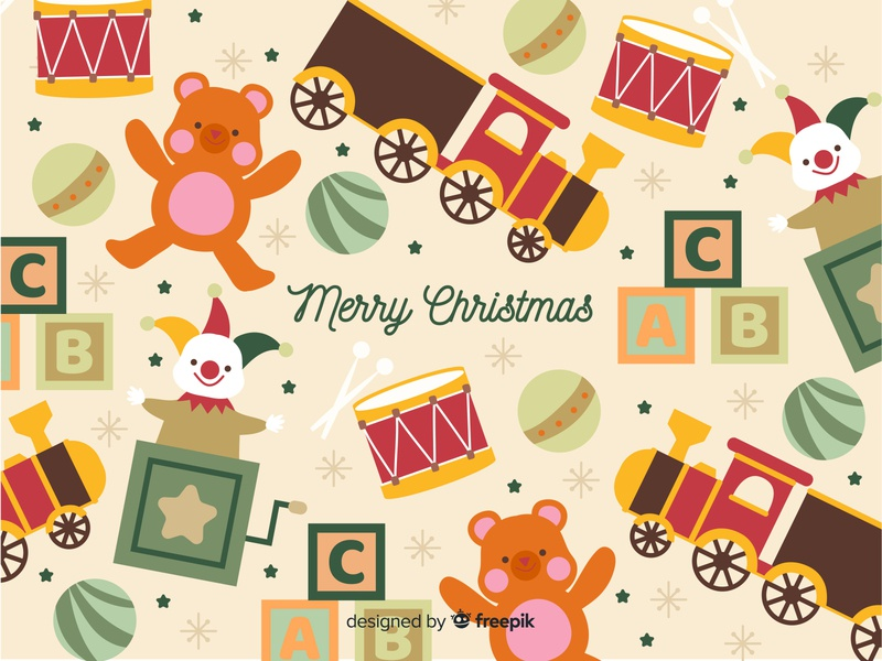 Christmas Toys free vector freebie drums train vintage toys pattern free download illustration children illustration cute vector illustration christmas tree christmas toys