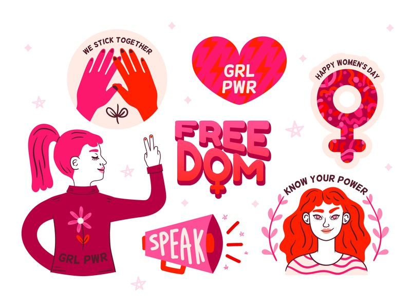 Women's Day Stickers freebie free download doodle character design kawaii womens day women empowerment women in illustration vector illustration grlpwr freedom feminist feminism stickers