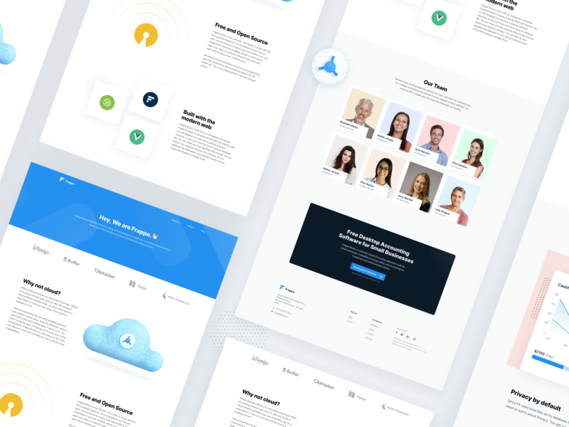 About us Page profile cloud opensource teams webpage illustration 3d icon card minimal grey yellow blue about us accounting typography design ui  ux