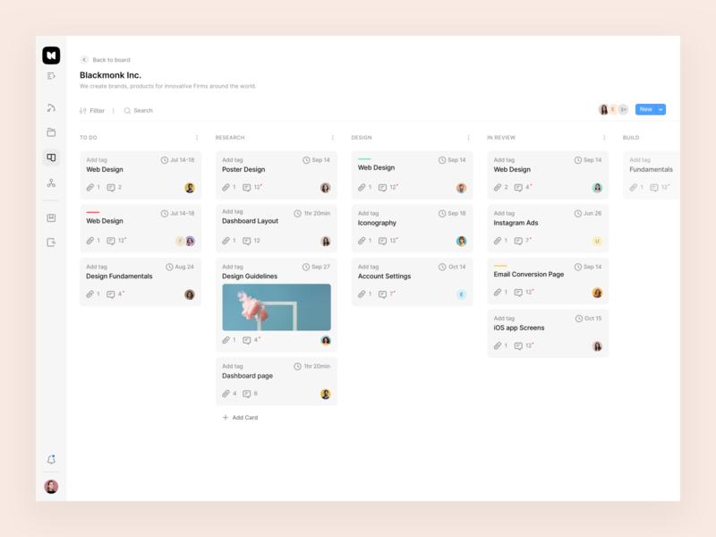 Project Managament — Kanban filter project management product board kanban product design web app design profile icon card blue ux typography design minimal grey
