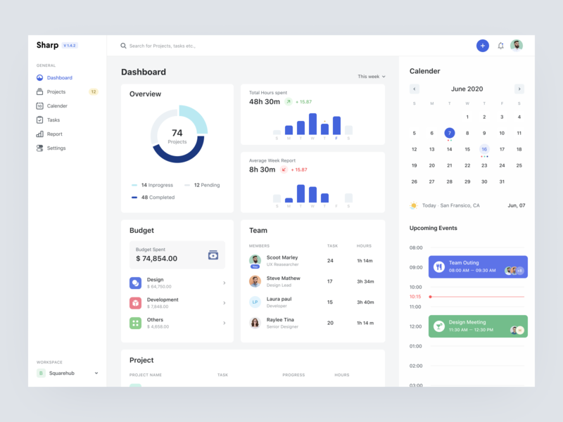 Project Management - Dashboard filter dashboard product design events overview cards project management sidebar navigation calender profile ui icon blue ux typography card minimal grey design board