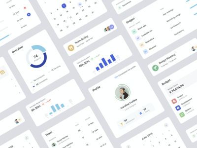 UI Components uidesign progress budget team workspace report project calender events overview board icon blue ux profile grey design minimal card