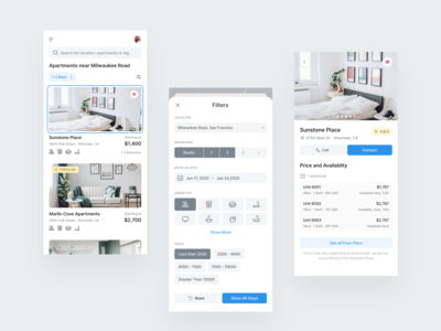 Residential App rental rating redesign mobile apps responsive design amenities favourite product design rental app filters calender ui typography icon blue ux card minimal grey design
