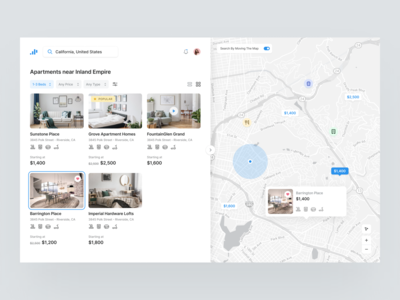 Residential - Web visual design house dailyui collapse search bar maps filters webdesign rentals product design ui profile typography icon blue ux card minimal grey design