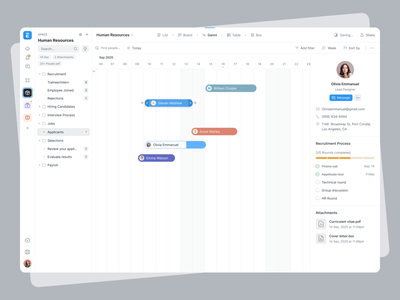 ERPNext Business Managament tool profile design quicksearch board recruitment search bar hr profile card sidebar management app gannt overview ui product design typography icon blue ux minimal grey design