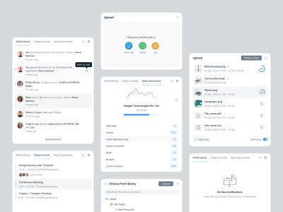 Components components webapp link bussiness empty state event calender notification upload file progressbar product design ui typography ux icon card blue minimal grey design