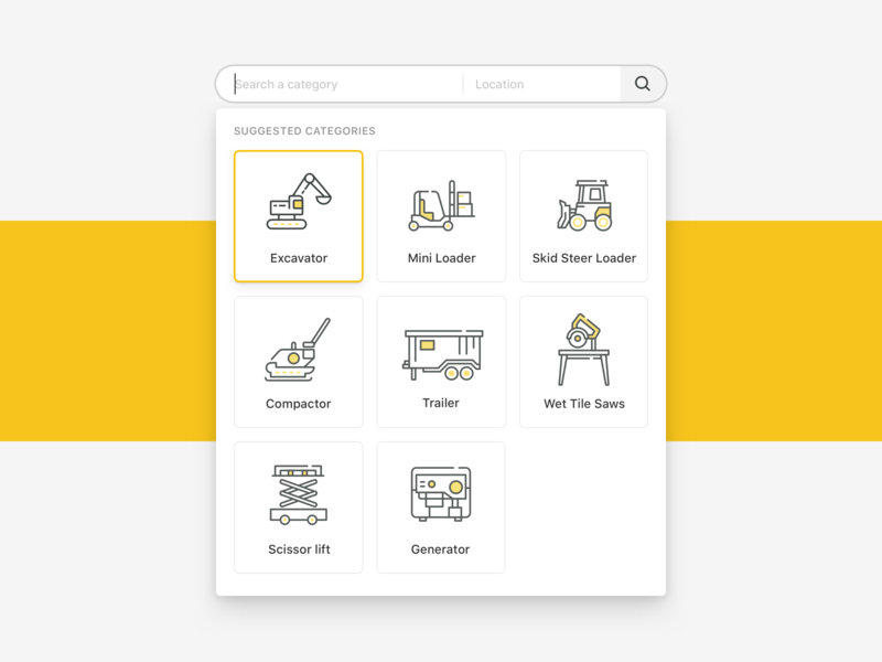 Icon Set for Construction Project machine construction yellow minimal design flat icon vector illustration