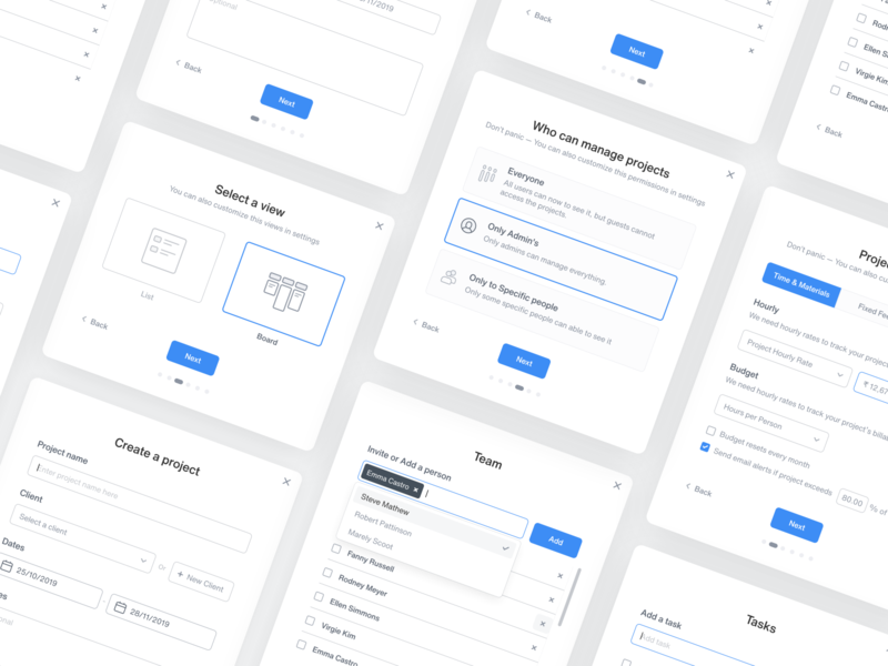 Onboarding Screens — Time Tracking Application create project graphic task timetracking web grey blue typography minimal card icon illustration model onboarding screen design ux ui