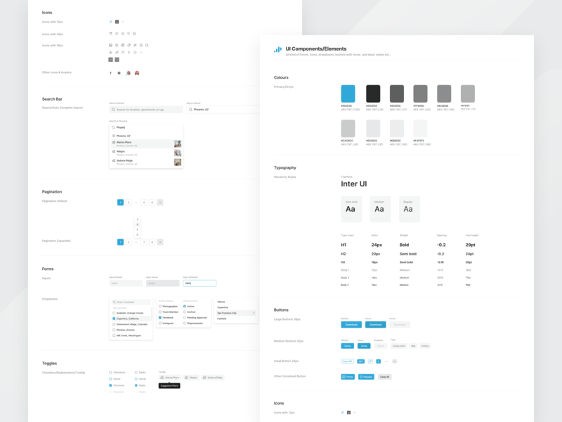 UI Components pagination iconography tags filters typography card ux ui minimal design blue grey forms components styleguide