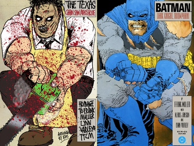 Homage to Miller and Texas Chain Saw Massacre texas chainsaw massacre leatherface dc comics frank miller batman dark knight
