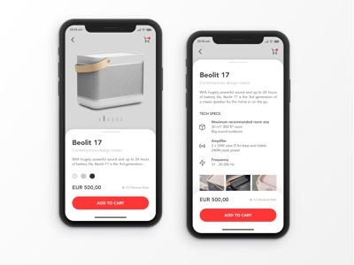 B&O Product Details App Concept product card sketch gray red user interface ui product page product detail app audio card product