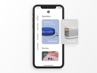 B&O App Concept product card ecommerce product category homepage white app ui audio