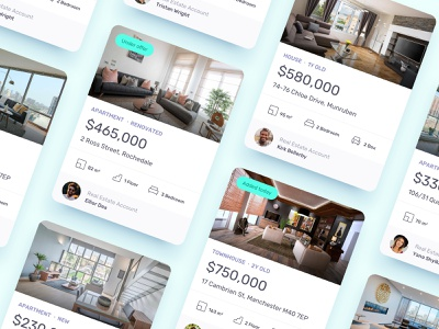 Real Estate - Card Concept icons house apartment listing card real estate