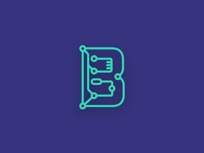 B-Circuit Logo neon green alphabet letter lettering logo flat b lines patter circuit