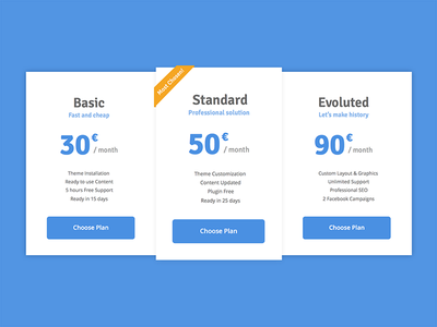 Pricing Table flat design ui user interface blue web solution subscription plan purchase pricing