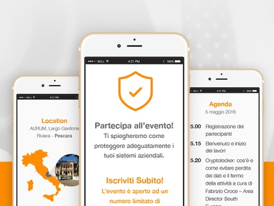 WatchGuard - mobile landing page responsive mobile ui conference event orange iphone mobile