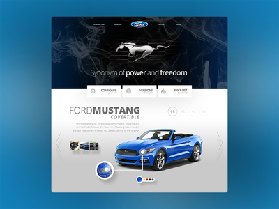 Ford Mustang landing page concept carwebsite landingpage userinterfacedesign webdesign ford car blue website userinterface