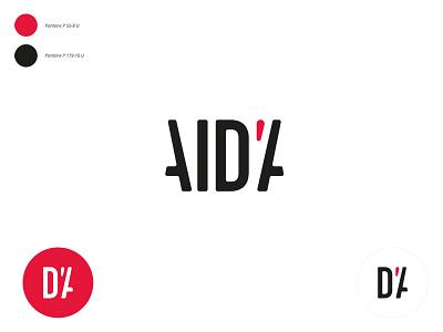 Personal Logo name logo symbol aida lettering apostrophe black red logo