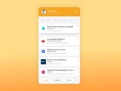 Inbox UI rebound concept email app inbox orange ui app email card inbox