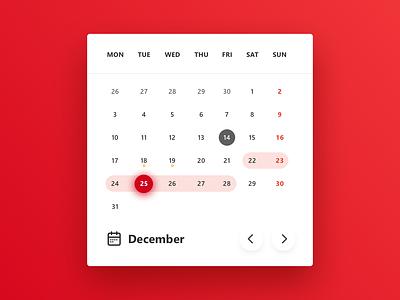 Dayli UI #3 - Calendar Widget concept dailyui december chrsitmas red calendarwidget widget calendar ui