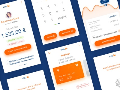 ING Bank App - Redesign Concept home banking banking app ing mobile app mobile blue orange redesign concept redesign credit card bank app bank