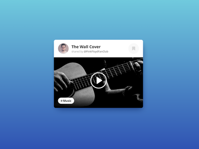 Daily UI #4 dailyui reproduction bookmark gradient blue player music tag play avatar audio video video player