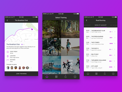 Let's Go! cape town trail triathlon swim bike run purple map group training mobile app fitness