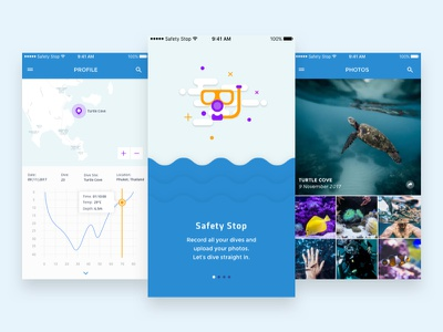 Safety Stop - Scuba Diving Logbook App logbook scuba diving illustration mobile app design