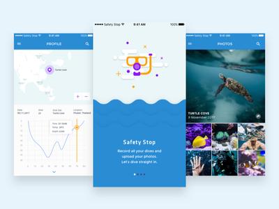 Safety Stop - Scuba Diving Logbook App logbook scuba diving illustration mobile app design