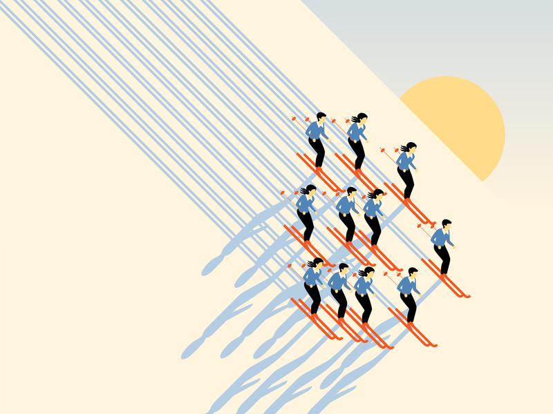Golden hour (winter edition) vector snow ski geometric design illustration