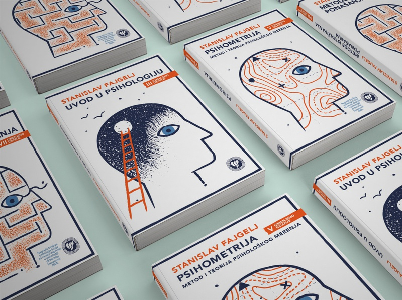 Book covers in Psychology 3 colors psychology book cover illustration