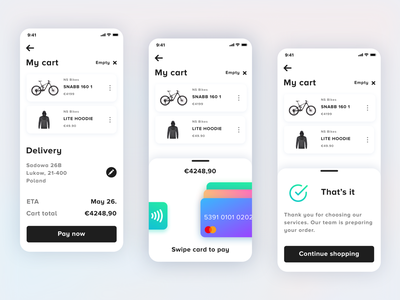 Swipe To Pay - Ecommerce checkout exploration mcommerce online shopping cart mobile app mobile interface checkout process credit card payment checkout ecommence ui