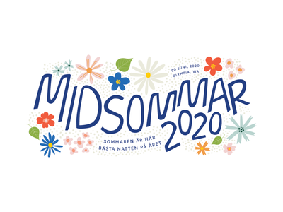 Midsommar 2020 illustration summer flowers hand drawn typography solstice midsummer midsommar heritage sverige sweden